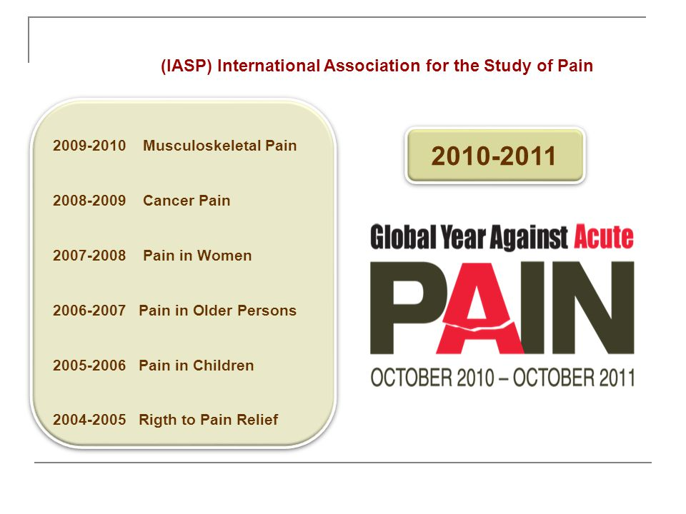 2009-2010 Musculoskeletal Pain 2008-2009 Cancer Pain 2007-2008 Pain in Women 2006-2007 Pain in Older Persons 2005-2006 Pain in Children 2004-2005 Rigt