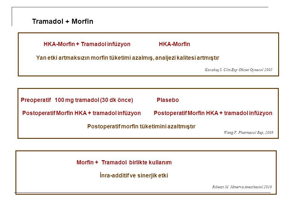 HKA-Morfin + Tramadol infüzyon HKA-Morfin Yan etki artmaksızın morfin tüketimi azalmış, analjezi kalitesi artmıştır Kocabaş S. Clin Exp Obstet Gynecol