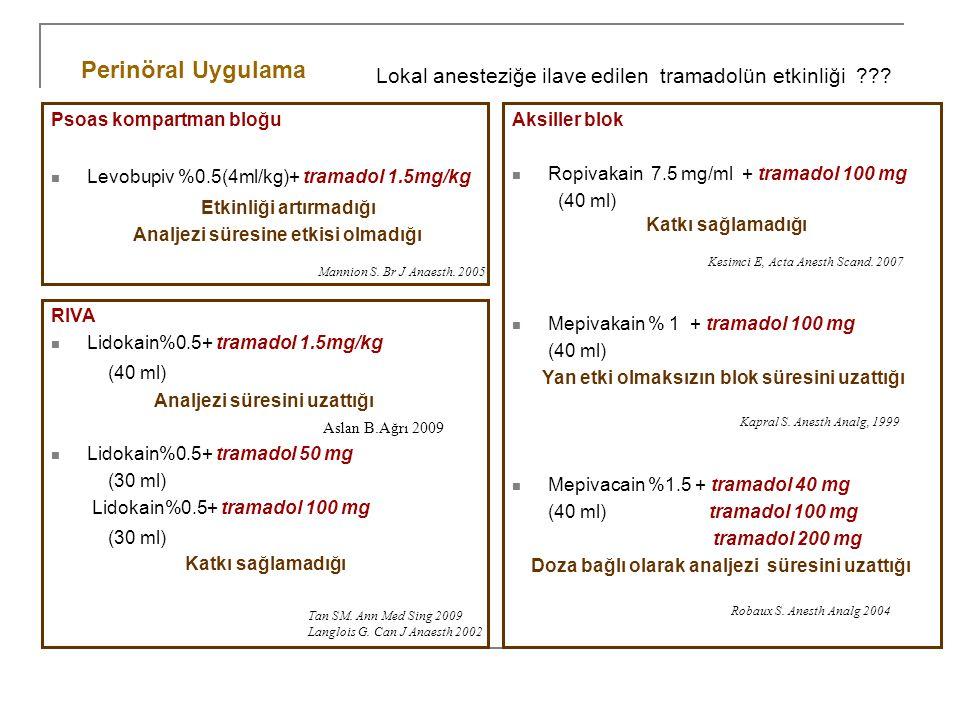 Psoas kompartman bloğu Levobupiv %0.5(4ml/kg)+ tramadol 1.5mg/kg Etkinliği artırmadığı Analjezi süresine etkisi olmadığı Perinöral Uygulama Mannion S.