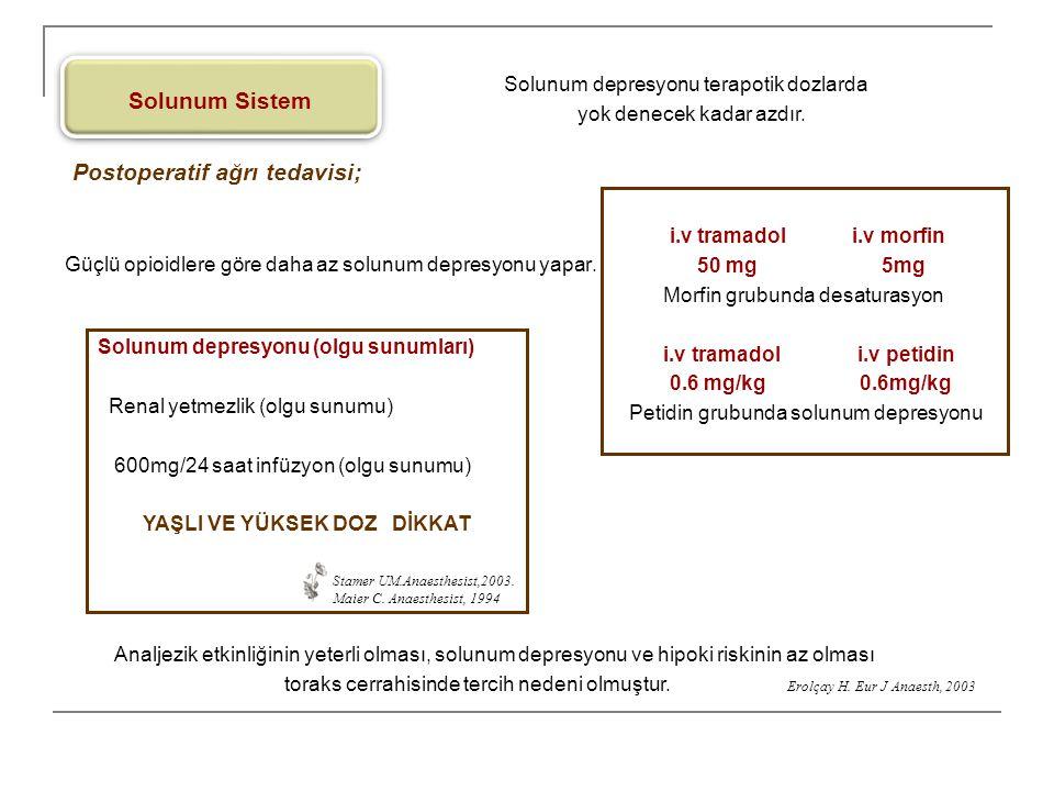 Solunum Sistem Solunum depresyonu (olgu sunumları) Renal yetmezlik (olgu sunumu) 600mg/24 saat infüzyon (olgu sunumu) YAŞLI VE YÜKSEK DOZ DİKKAT Stame