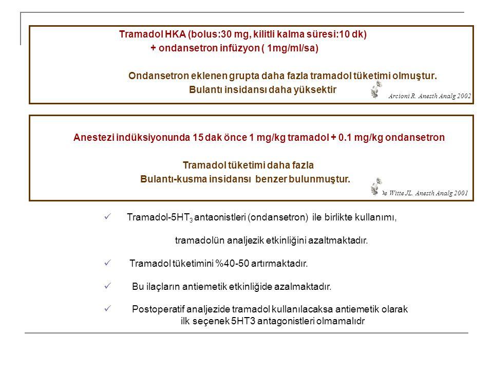 Tramadol HKA (bolus:30 mg, kilitli kalma süresi:10 dk) + ondansetron infüzyon ( 1mg/ml/sa) Ondansetron eklenen grupta daha fazla tramadol tüketimi olm