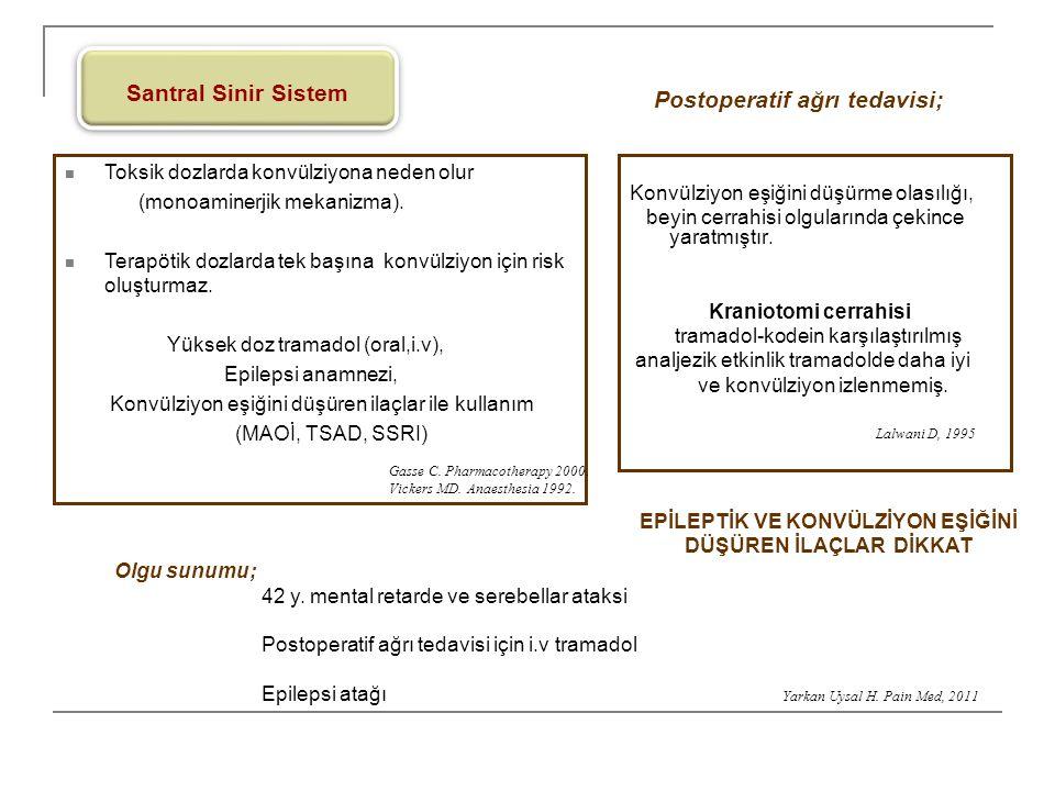 Santral Sinir Sistem Toksik dozlarda konvülziyona neden olur (monoaminerjik mekanizma). Terapötik dozlarda tek başına konvülziyon için risk oluşturmaz