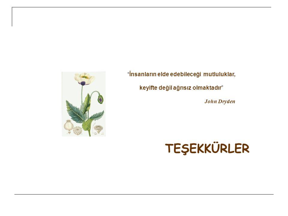 """TEŞEKKÜRLER """"İnsanların elde edebileceği mutluluklar, keyifte değil ağrısız olmaktadır"""" John Dryden"""