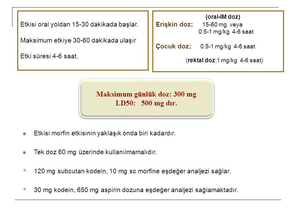Etkisi morfin etkisinin yaklaşık onda biri kadardır. Tek doz 60 mg üzerinde kullanılmamalıdır.  120 mg subcutan kodein, 10 mg sc morfine eşdeğer anal
