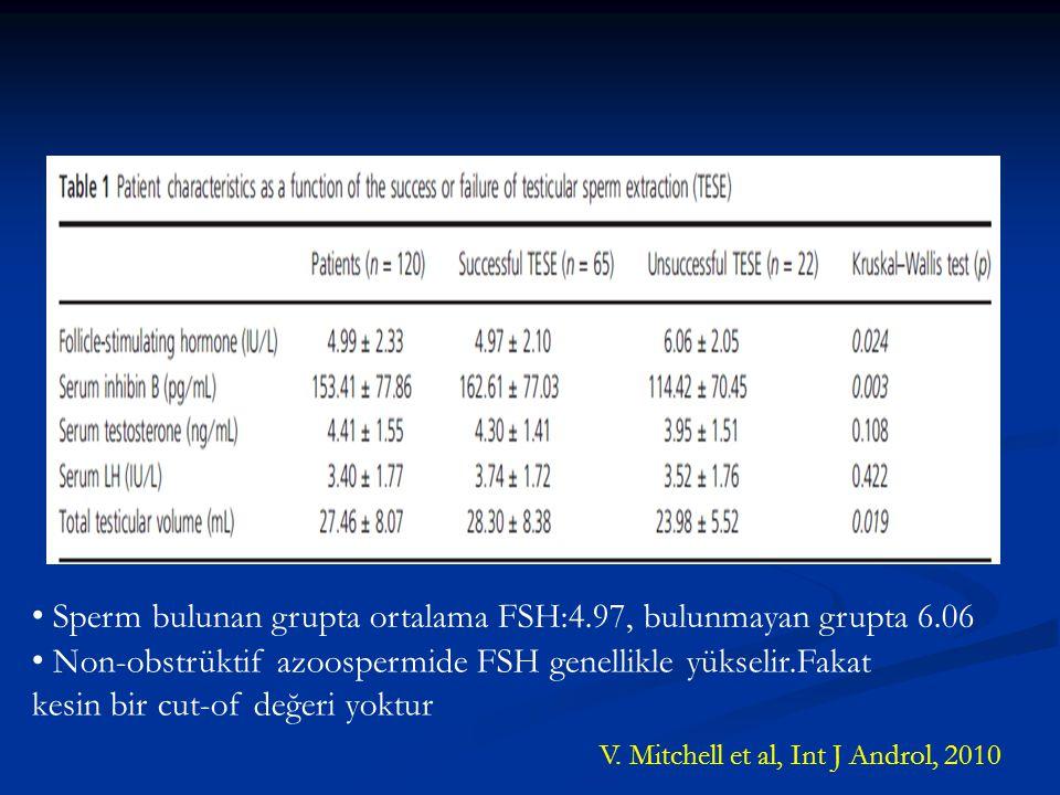 Sperm bulunan grupta ortalama FSH:4.97, bulunmayan grupta 6.06 Non-obstrüktif azoospermide FSH genellikle yükselir.Fakat kesin bir cut-of değeri yoktu