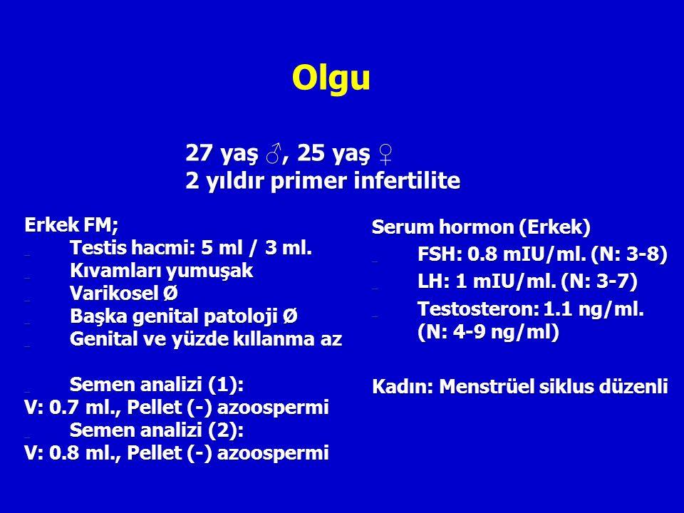 Olgu Erkek FM; _ Testis hacmi: 5 ml / 3 ml. _ Kıvamları yumuşak _ Varikosel Ø _ Başka genital patoloji Ø _ Genital ve yüzde kıllanma az _ Semen analiz