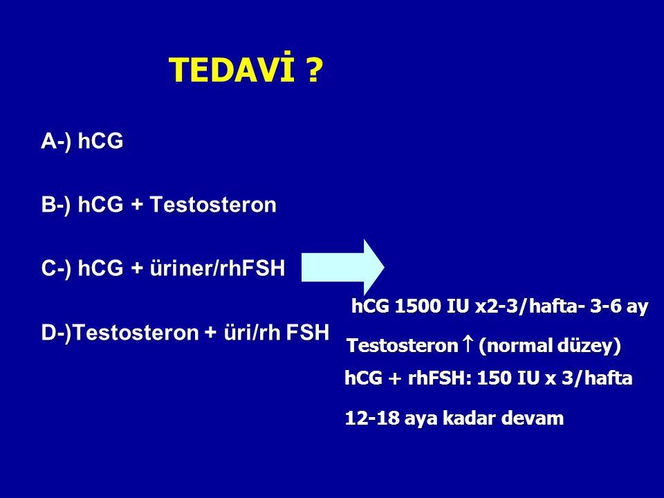 TEDAVİ ? A-) hCG B-) hCG + Testosteron C-) hCG + üriner/rhFSH D-)Testosteron + üri/rh FSH hCG 1500 IU x2-3/hafta- 3-6 ay Testosteron  (normal düzey)