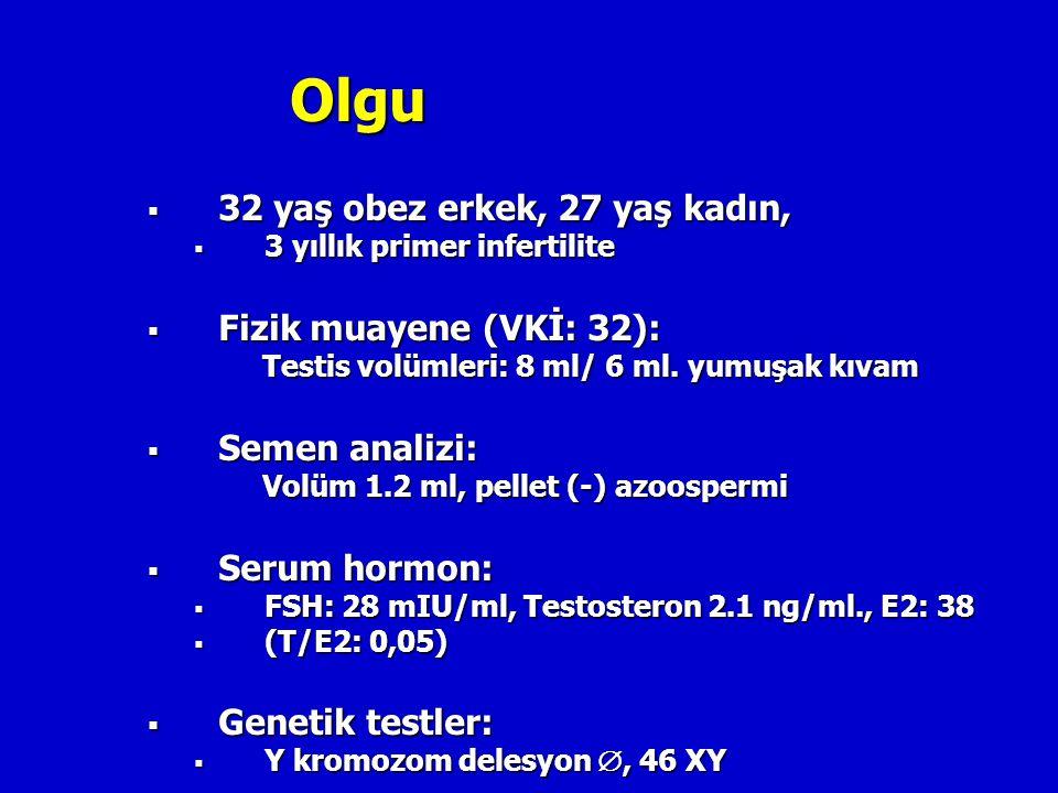 Olgu  32 yaş obez erkek, 27 yaş kadın,  3 yıllık primer infertilite  Fizik muayene (VKİ: 32): Testis volümleri: 8 ml/ 6 ml. yumuşak kıvam  Semen a