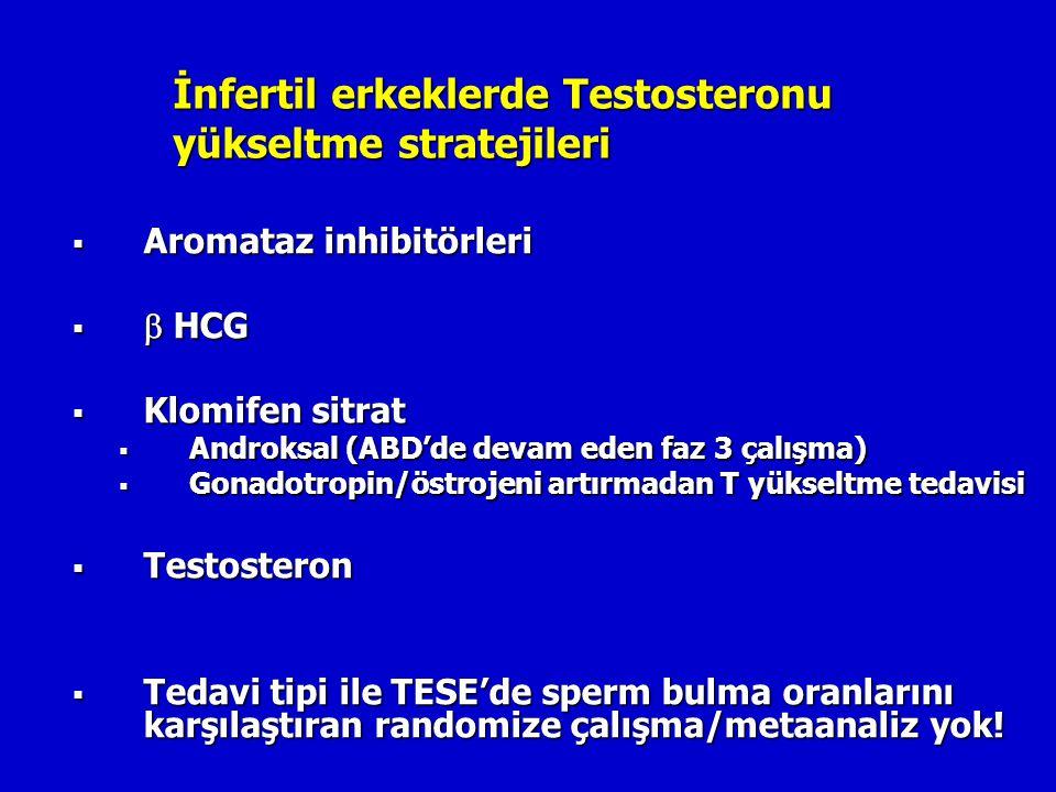 İnfertil erkeklerde Testosteronu yükseltme stratejileri  Aromataz inhibitörleri   HCG  Klomifen sitrat  Androksal (ABD'de devam eden faz 3 çalışm