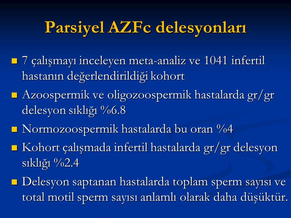 Parsiyel AZFc delesyonları 7 çalışmayı inceleyen meta-analiz ve 1041 infertil hastanın değerlendirildiği kohort 7 çalışmayı inceleyen meta-analiz ve 1