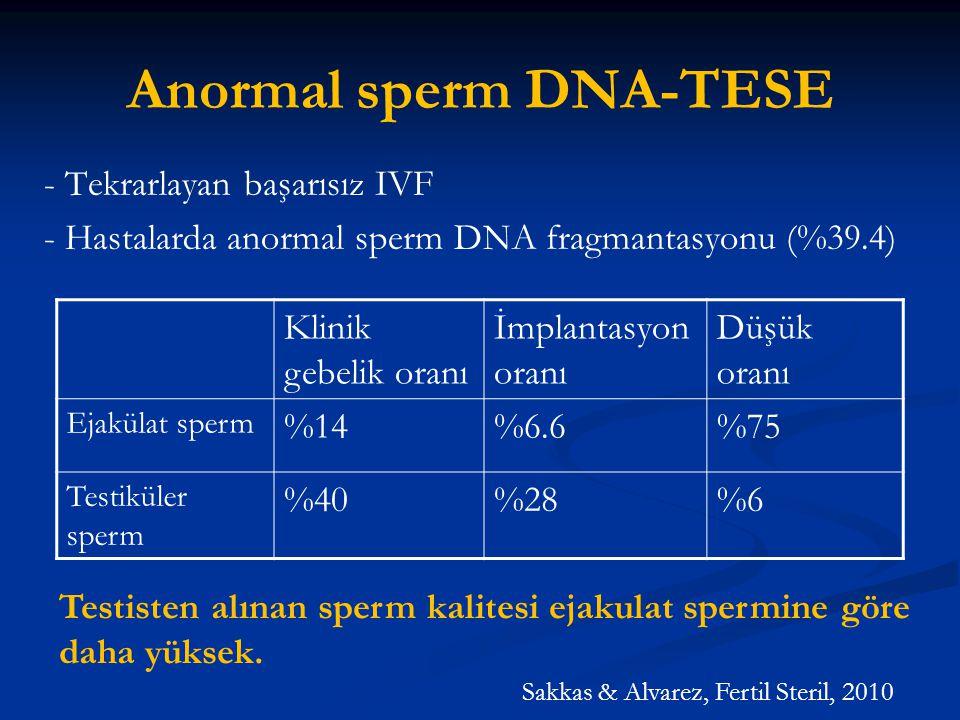 Anormal sperm DNA-TESE - Tekrarlayan başarısız IVF - Hastalarda anormal sperm DNA fragmantasyonu (%39.4) Klinik gebelik oranı İmplantasyon oranı Düşük