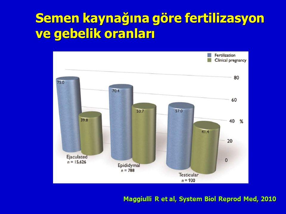 Semen kaynağına göre fertilizasyon ve gebelik oranları Maggiulli R et al, System Biol Reprod Med, 2010