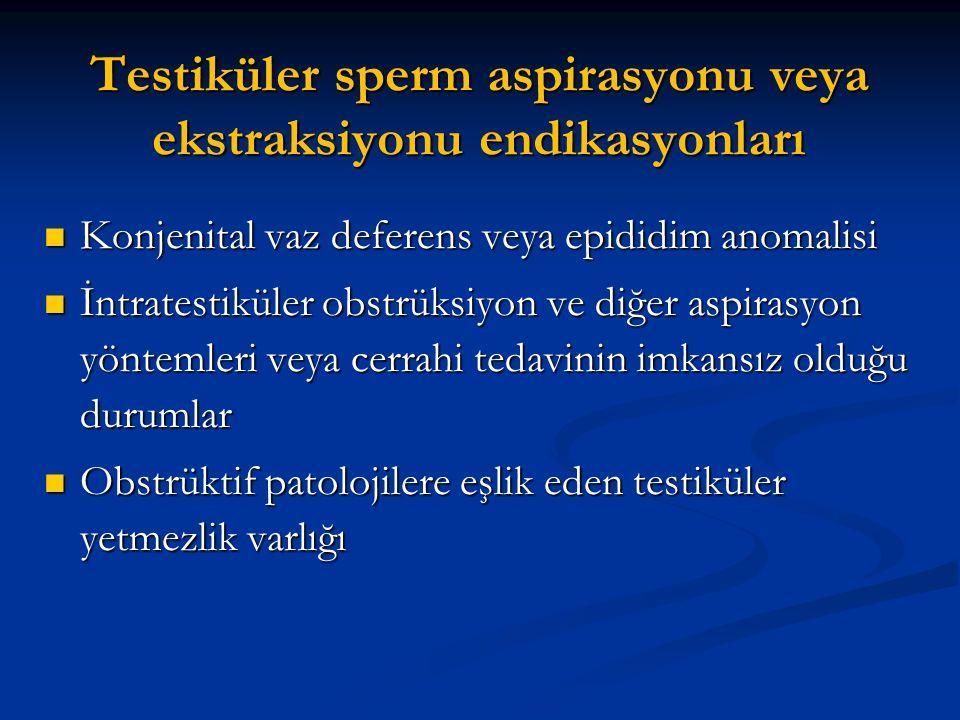 Testiküler sperm aspirasyonu veya ekstraksiyonu endikasyonları Konjenital vaz deferens veya epididim anomalisi Konjenital vaz deferens veya epididim a