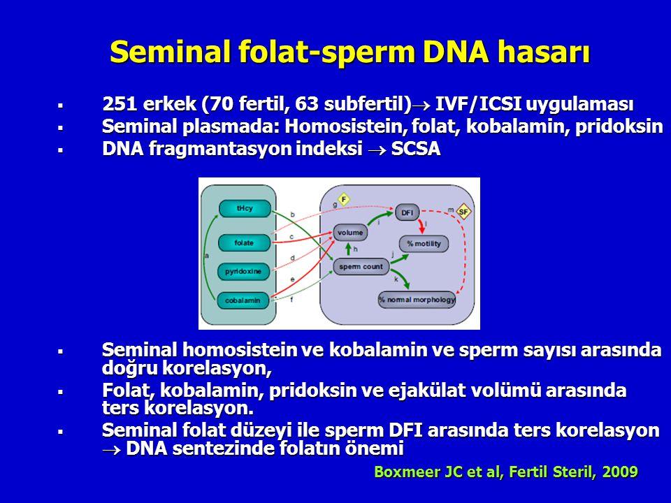 Seminal folat-sperm DNA hasarı  251 erkek (70 fertil, 63 subfertil)  IVF/ICSI uygulaması  Seminal plasmada: Homosistein, folat, kobalamin, pridoksi