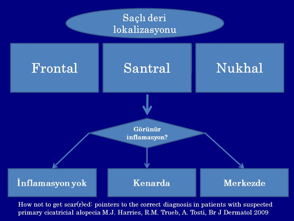 Saçlı deri lokalizasyonu Santral Frontal Nukhal Görünür inflamasyon? İnflamasyon yokKenardaMerkezde Santral How not to get scar(r)ed: pointers to the