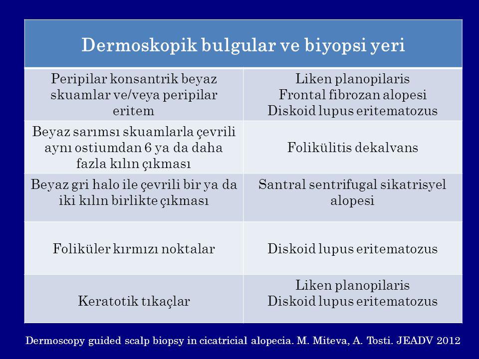 Dermoskopik bulgular ve biyopsi yeri Peripilar konsantrik beyaz skuamlar ve/veya peripilar eritem Liken planopilaris Frontal fibrozan alopesi Diskoid