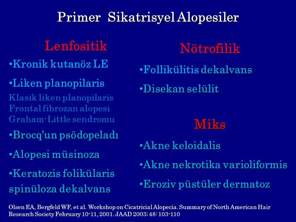 Primer Sikatrisyel Alopesiler Nötrofilik dekalvans Follikülitis dekalvans Disekan selülit Disekan selülitMiks Akne keloidalis Akne keloidalis Akne nek