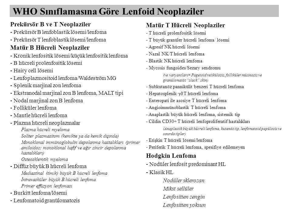 WHO Sınıflamasına Göre Lenfoid Neoplaziler Prekürsör B ve T Neoplaziler - Prekürsör B lenfoblastik lösemi/lenfoma - Prekürsör T lenfoblastik lösemi/lenfoma Matür B Hücreli Neoplaziler - Kronik lenfositik lösemi/küçük lenfositik lenfoma - B hücreli prolenfositik lösemi - Hairy cell lösemi - Lenfoplazmositoid lenfoma/Waldeström MG - Splenik marjinal zon lenfoma - Ekstranodal marjinal zon B lenfoma, MALT tipi - Nodal marjinal zon B lenfoma - Folliküler lenfoma - Mantle hücreli lenfoma - Plazma hücreli neoplazmalar Plazma hücreli myeloma Soliter plazmasitom (kemikte ya da kemik dışında) Monoklonal immünoglobulin depolanma hastalıkları (primer amiloidoz; monoklonal hafif ve ağır zincir depolanma hastalıkları) Osteosklerotik myeloma - Diffüz büyük B hücreli lenfoma Mediastinal (timik) büyük B hücreli lenfoma İntravasküler büyük B hücreli lenfoma Primer effüzyon lenfoması - Burkitt lenfoma/lösemi - Lenfomatoid granülomatozis Matür T Hücreli Neoplaziler - T hücreli prolenfositik lösemi - T büyük granüler hücreli lenfoma/ lösemi - Agresif NK hücreli lösemi - Nazal NK/T hücreli lenfoma - Blastik NK hücreli lenfoma - Mycosis fungoides/Sezary sendromu (ve varyantları= Pagetoid retikülozis, folliküler müsinozis ve granülomatöz slack skin) - Subkutanöz pannikülit benzeri T hücreli lenfoma - Hepatosplenik  T hücreli lenfoma - Enteropati ile asosiye T hücreli lenfoma - Angioimmünoblastik T hücreli lenfoma - Anaplastik büyük hücreli lenfoma, sistemik tip - Cildin CD30+ T hücreli lenfoproliferatif hastalıkları (Anaplastik büyük hücreli lenfoma, kutanöz tip, lenfomatoid papülozis ve sınırda tipler) - Erişkin T hücreli lösemi/lenfoma - Periferik T hücreli lenfoma, spesifiye edilemeyen Hodgkin Lenfoma - Nodüler lenfosit predominant HL - Klasik HL Nodüler sklerozan Mikst sellüler Lenfositten zengin Lenfositten yoksun
