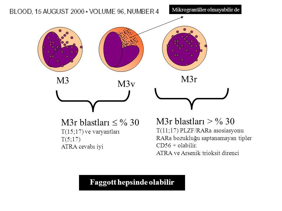 M3 M3v M3r M3r blastları  % 30 T(15;17) ve varyantları T(5;17) ATRA cevabı iyi M3r blastları > % 30 T(11;17) PLZF/RARa asosiasyonu RARa bozukluğu saptanamayan tipler CD56 + olabilir.