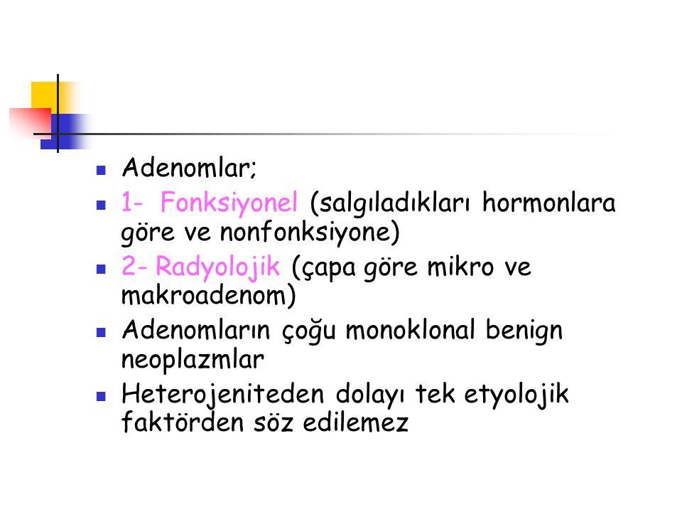 Adenomlar; 1- Fonksiyonel (salgıladıkları hormonlara göre ve nonfonksiyone) 2- Radyolojik (çapa göre mikro ve makroadenom) Adenomların çoğu monoklonal