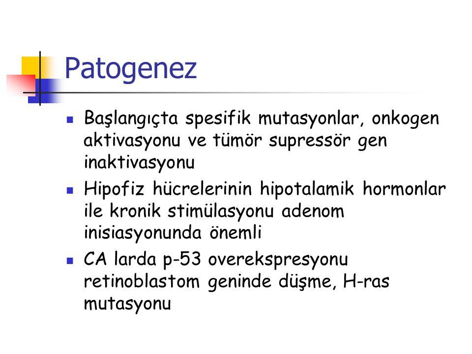 Patogenez Başlangıçta spesifik mutasyonlar, onkogen aktivasyonu ve tümör supressör gen inaktivasyonu Hipofiz hücrelerinin hipotalamik hormonlar ile kr