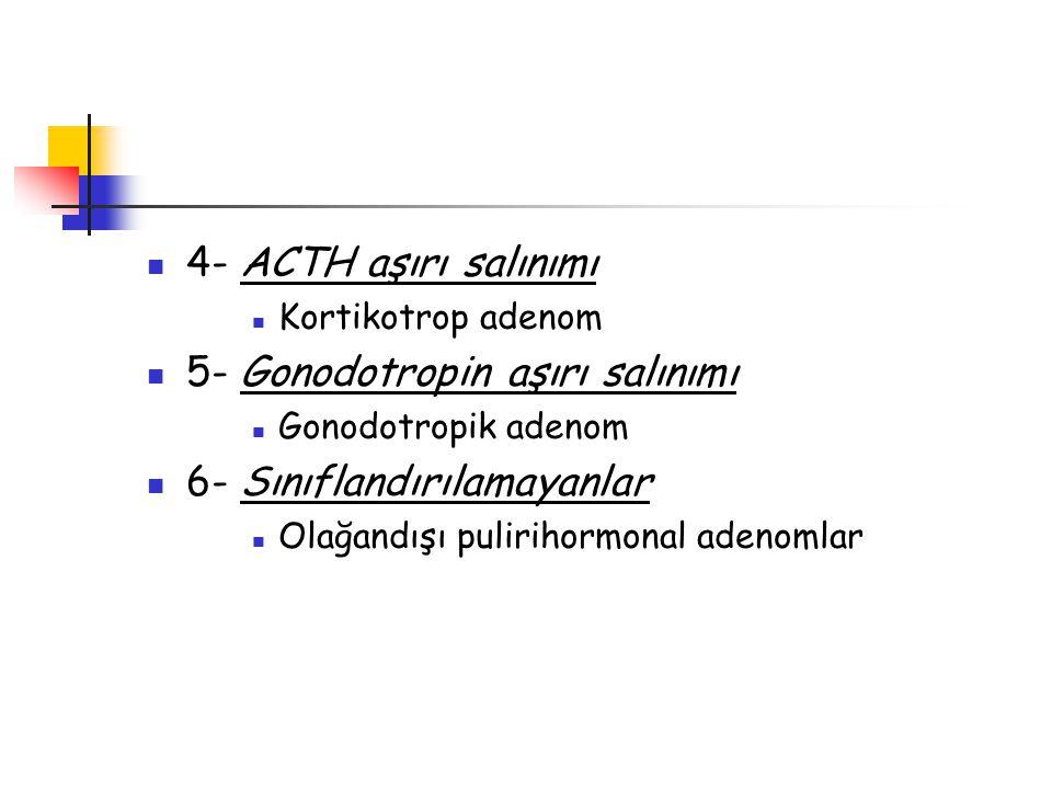4- ACTH aşırı salınımı Kortikotrop adenom 5- Gonodotropin aşırı salınımı Gonodotropik adenom 6- Sınıflandırılamayanlar Olağandışı pulirihormonal adeno