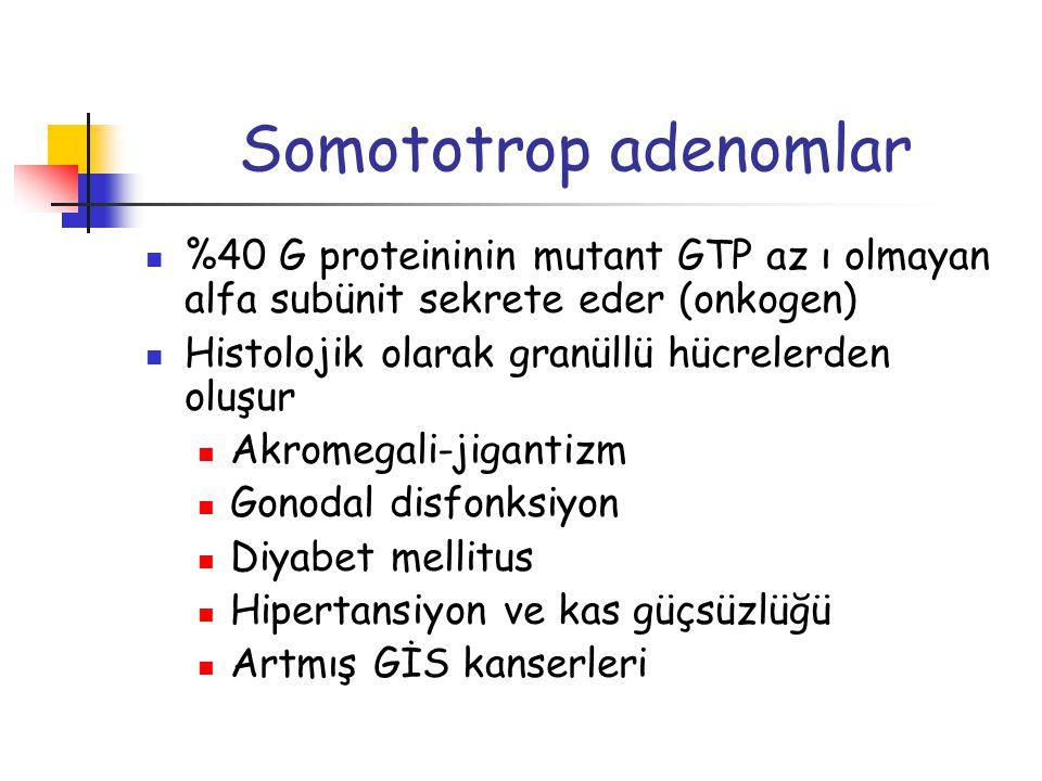 Somototrop adenomlar %40 G proteininin mutant GTP az ı olmayan alfa subünit sekrete eder (onkogen) Histolojik olarak granüllü hücrelerden oluşur Akrom