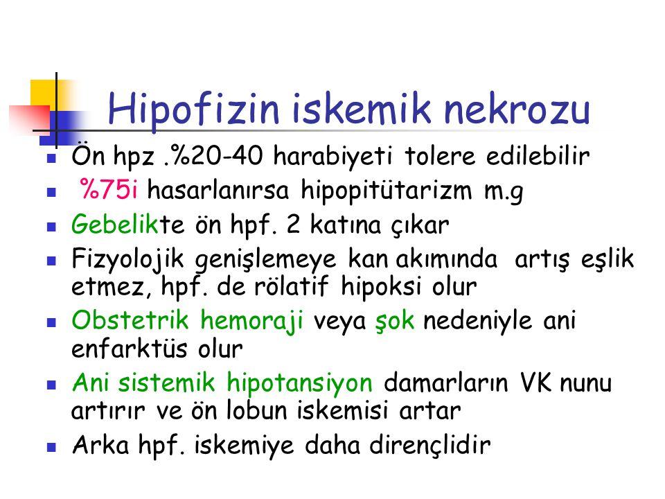 Hipofizin iskemik nekrozu Ön hpz.%20-40 harabiyeti tolere edilebilir %75i hasarlanırsa hipopitütarizm m.g Gebelikte ön hpf. 2 katına çıkar Fizyolojik