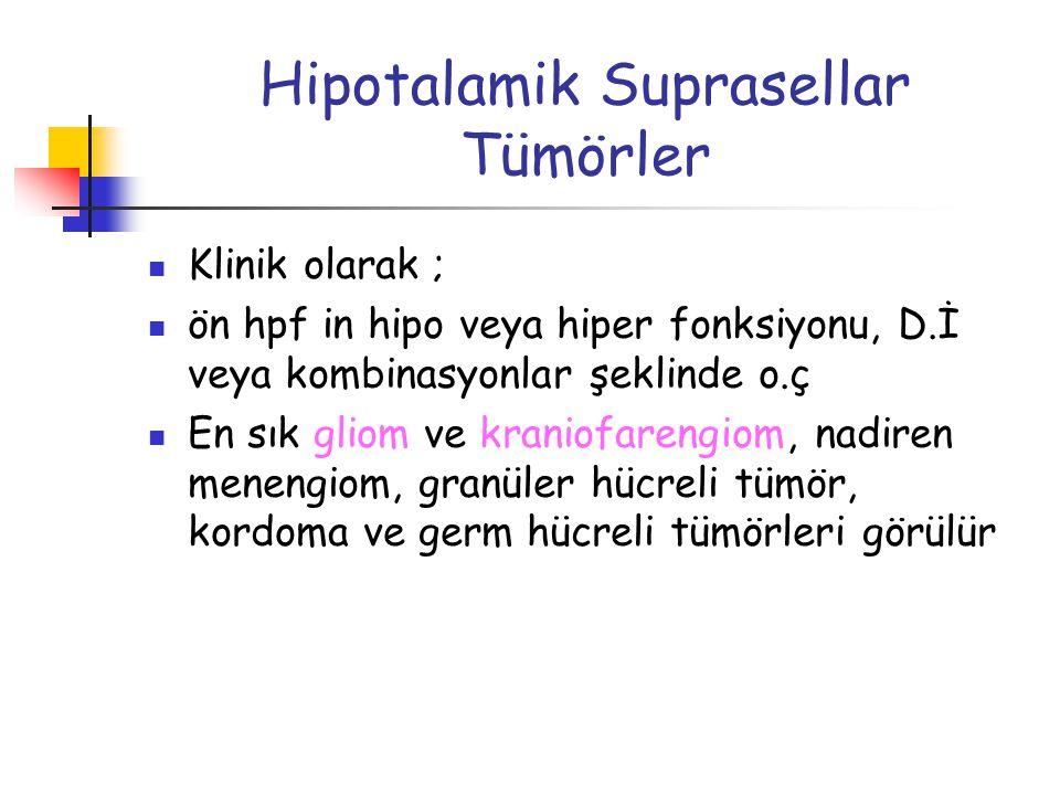Hipotalamik Suprasellar Tümörler Klinik olarak ; ön hpf in hipo veya hiper fonksiyonu, D.İ veya kombinasyonlar şeklinde o.ç En sık gliom ve kraniofare
