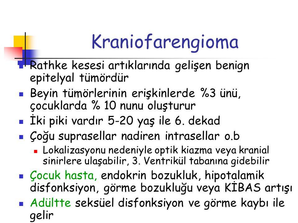 Kraniofarengioma Rathke kesesi artıklarında gelişen benign epitelyal tümördür Beyin tümörlerinin erişkinlerde %3 ünü, çocuklarda % 10 nunu oluşturur İ