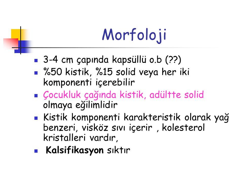 Morfoloji 3-4 cm çapında kapsüllü o.b (??) %50 kistik, %15 solid veya her iki komponenti içerebilir Çocukluk çağında kistik, adültte solid olmaya eğil