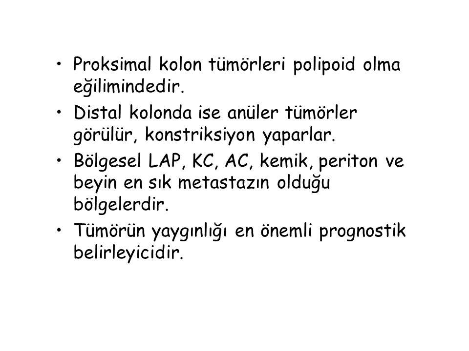 Proksimal kolon tümörleri polipoid olma eğilimindedir. Distal kolonda ise anüler tümörler görülür, konstriksiyon yaparlar. Bölgesel LAP, KC, AC, kemik