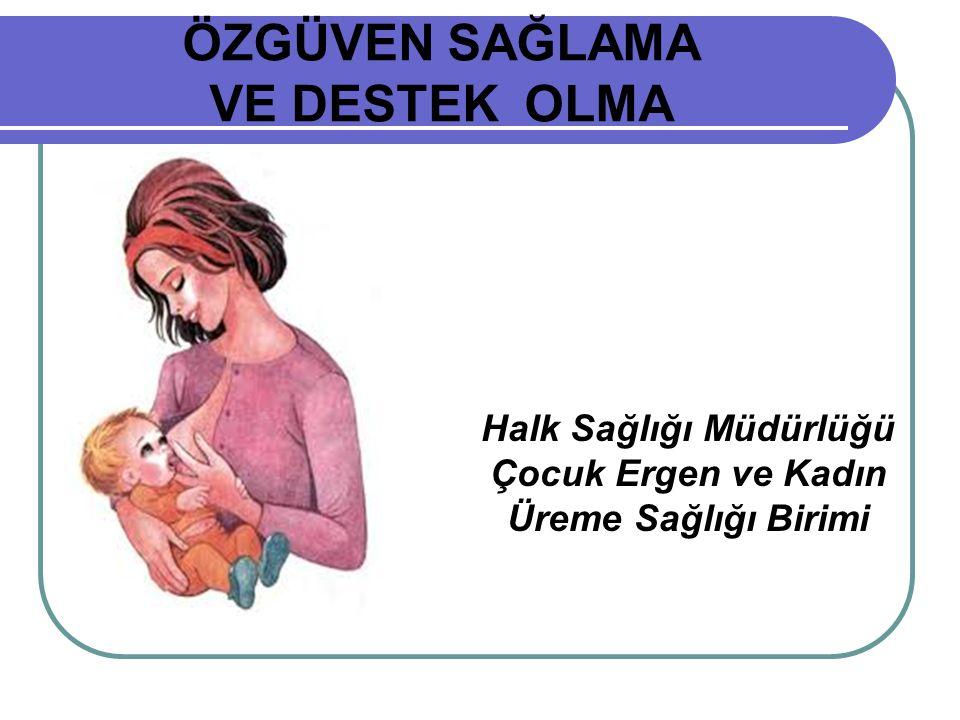 ÖZGÜVEN SAĞLAMA VE DESTEK OLMA Halk Sağlığı Müdürlüğü Çocuk Ergen ve Kadın Üreme Sağlığı Birimi