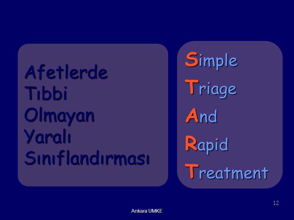 12 Ankara UMKE Afetlerde Tıbbi Olmayan Yaralı Sınıflandırması S imple T riage A nd R apid T reatment