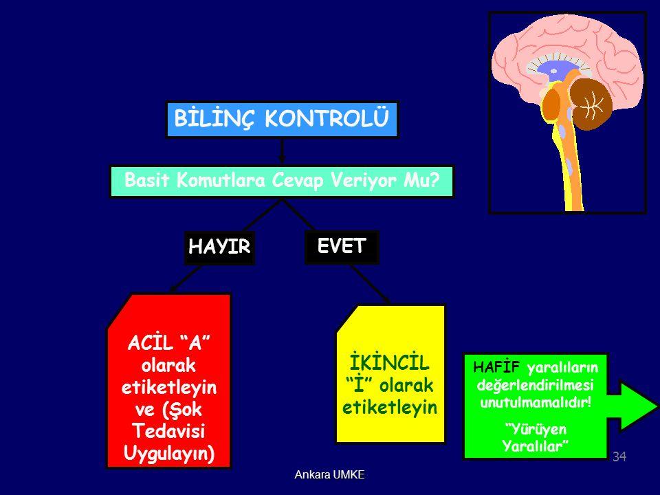 """34 Ankara UMKE HAFİF yaralıların değerlendirilmesi unutulmamalıdır! """"Yürüyen Yaralılar"""" HAYIR ACİL """"A"""" olarak etiketleyin ve (Şok Tedavisi Uygulayın)"""