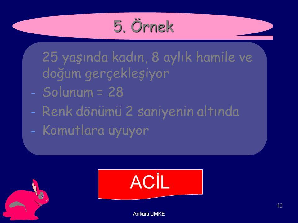 42 Ankara UMKE ACİL 5. Örnek 25 yaşında kadın, 8 aylık hamile ve doğum gerçekleşiyor - Solunum = 28 - Renk dönümü 2 saniyenin altında - Komutlara uyuy