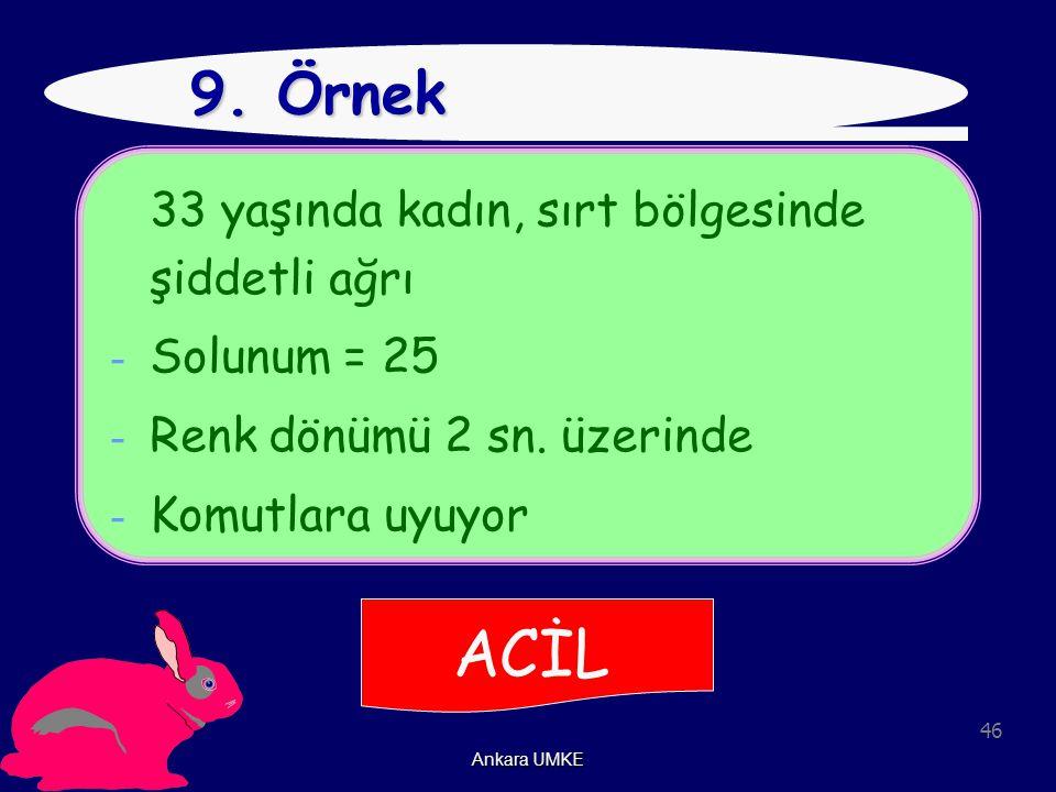 46 Ankara UMKE 9. Örnek 33 yaşında kadın, sırt bölgesinde şiddetli ağrı - Solunum = 25 - Renk dönümü 2 sn. üzerinde - Komutlara uyuyor ACİL