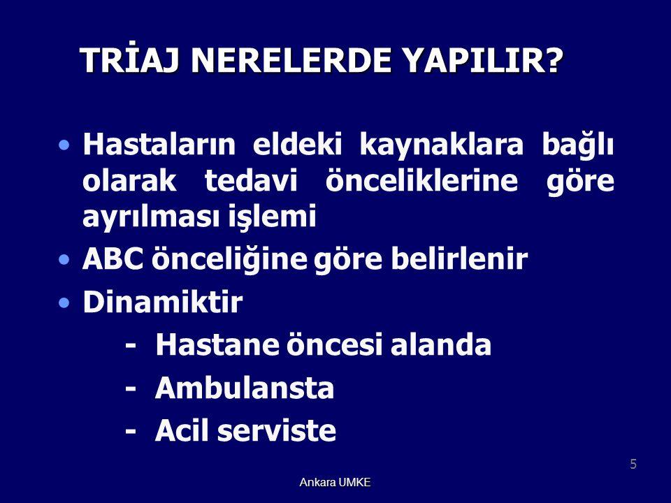 5 Ankara UMKE TRİAJ NERELERDE YAPILIR? Hastaların eldeki kaynaklara bağlı olarak tedavi önceliklerine göre ayrılması işlemi ABC önceliğine göre belirl