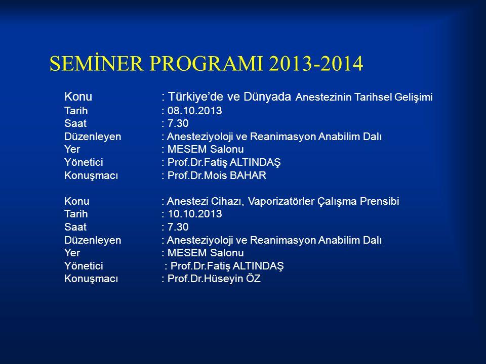 SEMİNER PROGRAMI 2013-2014 Konu: Türkiye'de ve Dünyada Anestezinin Tarihsel Gelişimi Tarih: 08.10.2013 Saat: 7.30 Düzenleyen: Anesteziyoloji ve Reanim