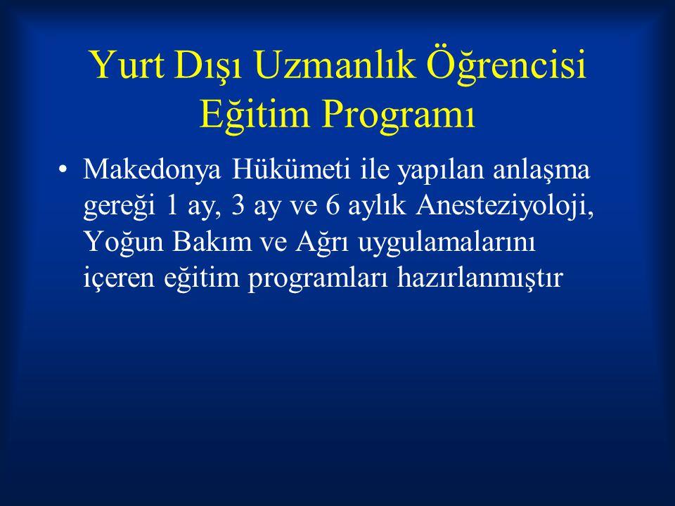 Yurt Dışı Uzmanlık Öğrencisi Eğitim Programı Makedonya Hükümeti ile yapılan anlaşma gereği 1 ay, 3 ay ve 6 aylık Anesteziyoloji, Yoğun Bakım ve Ağrı u