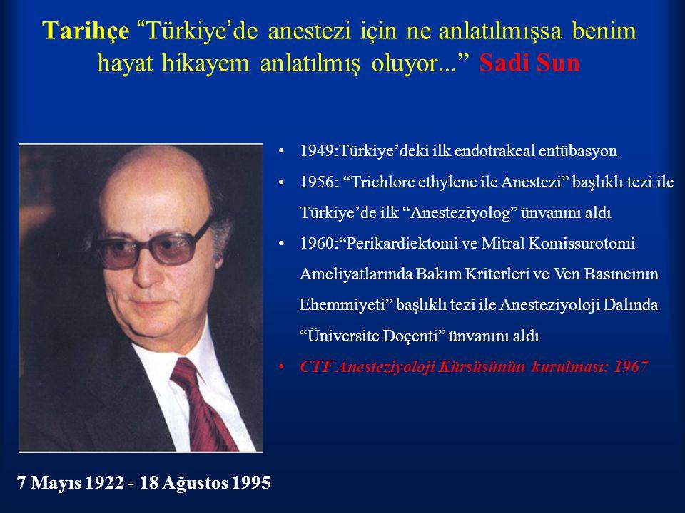"""Tarihçe """"Türkiye'de anestezi için ne anlatılmışsa benim hayat hikayem anlatılmış oluyor..."""" Sadi Sun 7 Mayıs 1922 - 18 Ağustos 1995 1949:Türkiye'deki"""