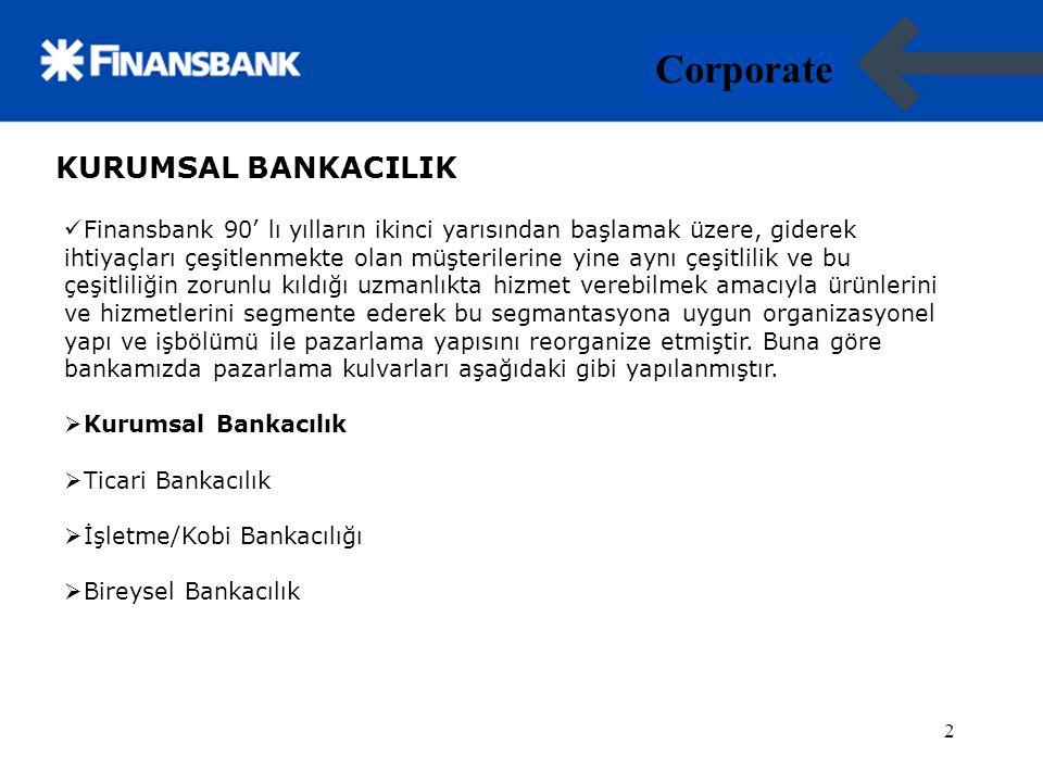 3 Corporate 3 Kurumsal Bankacılık; Kullandığı ürünler ve finansal ihtiyaçları gereği uzmanlık gerektiren kapsamda hizmet almaya ihtiyacı olan ve büyük olarak tanımlanan ölçekteki müşterilere hizmet vermektedir.