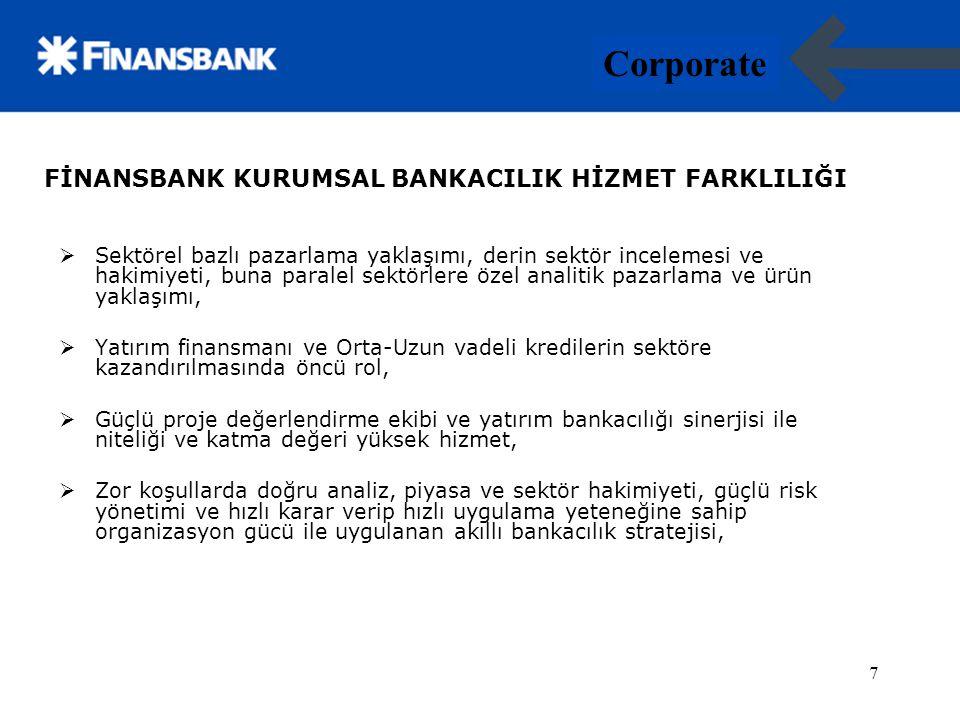 8 Corporate 8 FİNANSBANK KURUMSAL BANKACILIK HİZMET FARKLILIĞI  Her düzeyde güçlü, kalıcı,istikrarlı ve sonuç odaklı müşteri ilişkileri.