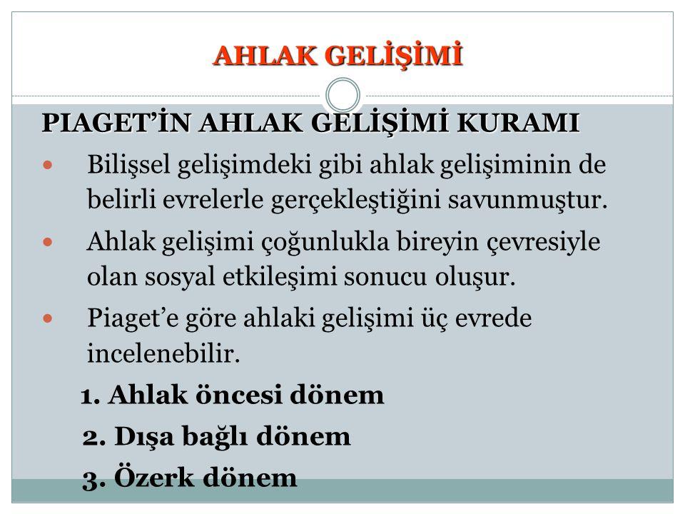 AHLAK GELİŞİMİ PIAGET'İN AHLAK GELİŞİMİ KURAMI 1.
