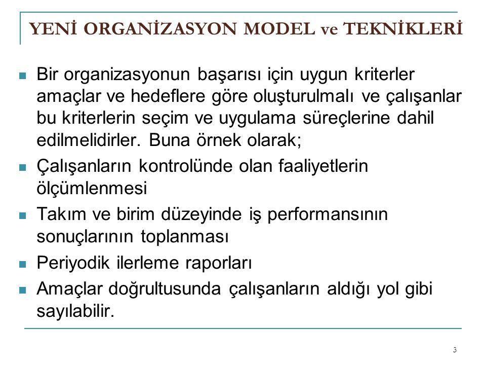 YENİ ORGANİZASYON MODEL ve TEKNİKLERİ Bir organizasyonun başarısı için uygun kriterler amaçlar ve hedeflere göre oluşturulmalı ve çalışanlar bu kriterlerin seçim ve uygulama süreçlerine dahil edilmelidirler.