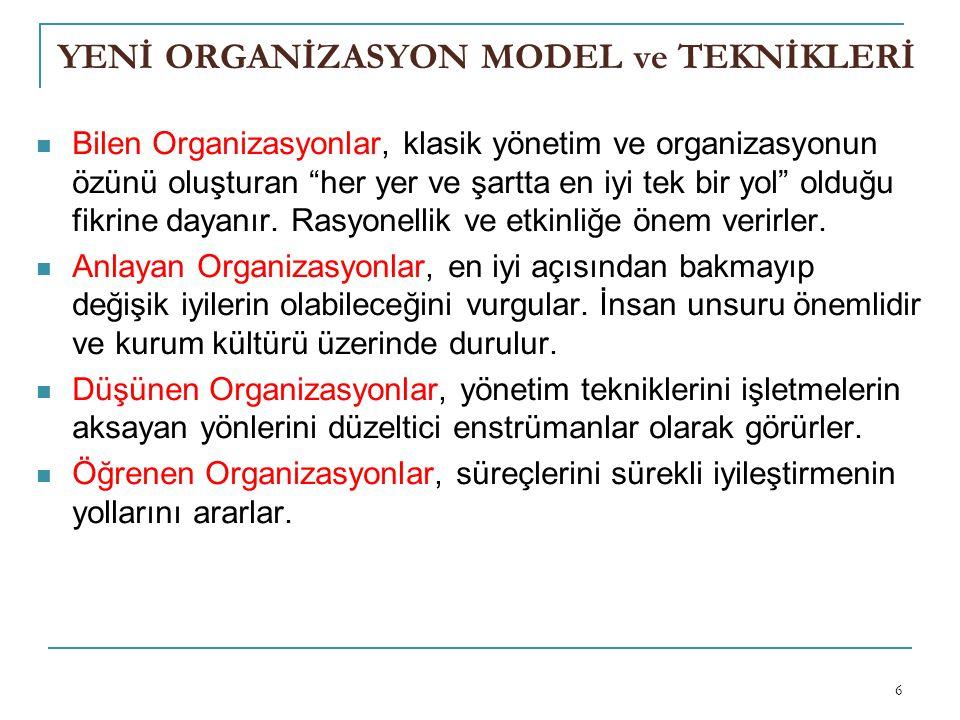 YENİ ORGANİZASYON MODEL ve TEKNİKLERİ Bilen Organizasyonlar, klasik yönetim ve organizasyonun özünü oluşturan her yer ve şartta en iyi tek bir yol olduğu fikrine dayanır.
