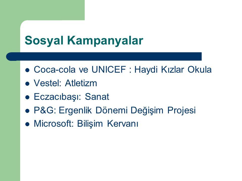 Sosyal Kampanyalar Coca-cola ve UNICEF : Haydi Kızlar Okula Vestel: Atletizm Eczacıbaşı: Sanat P&G: Ergenlik Dönemi Değişim Projesi Microsoft: Bilişim