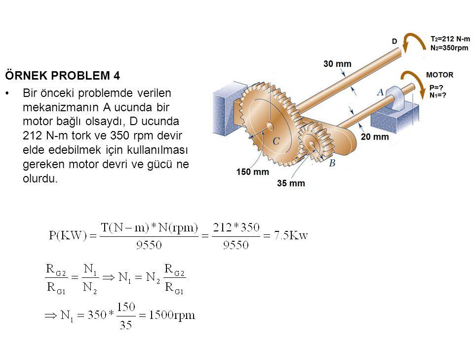ÖRNEK PROBLEM 4 Bir önceki problemde verilen mekanizmanın A ucunda bir motor bağlı olsaydı, D ucunda 212 N-m tork ve 350 rpm devir elde edebilmek için