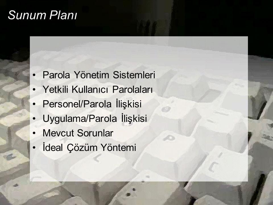 Sunum Planı Parola Yönetim Sistemleri Yetkili Kullanıcı Parolaları Personel/Parola İlişkisi Uygulama/Parola İlişkisi Mevcut Sorunlar İdeal Çözüm Yöntemi