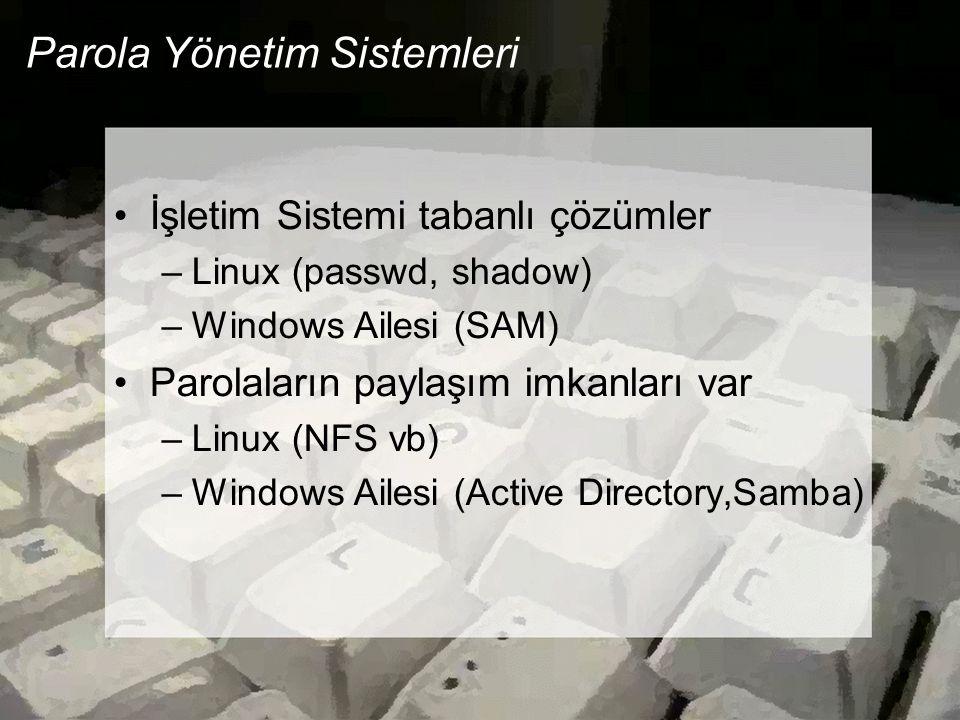 Parola Yönetim Sistemleri İşletim Sistemi tabanlı çözümler –Linux (passwd, shadow) –Windows Ailesi (SAM) Parolaların paylaşım imkanları var –Linux (NFS vb) –Windows Ailesi (Active Directory,Samba)